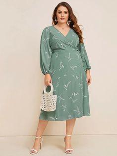 Shein Plus Plant Print Wrap Knotted Dress Plus Size Dresses, Plus Size Outfits, Dresses For Work, Summer Dresses, Wrap Dresses, Pop Fashion, Curvy Fashion, Plus Size Fashion, Green Tea Dresses
