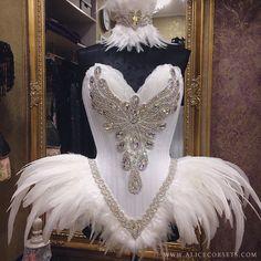 Corsé del Overbust de plumas de cisne Princess ~ Vestido de cuento de hadas gótico Goth alta ~ bola de aves disfraces traje equipo burlesco corsé de la boda