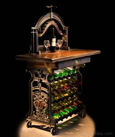 """Dragons"" Victorian Mangle Wine Rack & Table - Antiques Atlas"