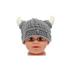 Newborn Baby Girls Boys Horn Wool Knit Hat Soft Photo Props Crochet... ($5.50) ❤ liked on Polyvore featuring kids accessories hats and white