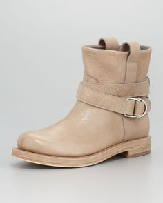 Brunello Cucinelli - Crackled Leather Ankle Boot, Mushroom