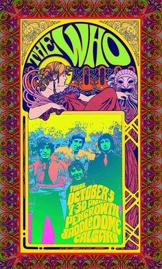 Vintage The Who concert poster. - Hippie, Woodstock, classic rock.