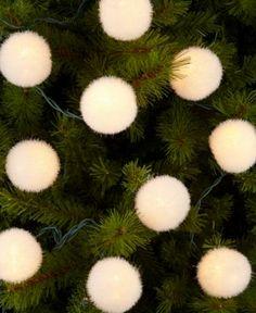 Kurt Adler Christmas Lights, White Flocked Balls
