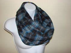 Black Blue Grey Plaid Infinity Scarf Flannel by OtiliaBoutique, $26.50