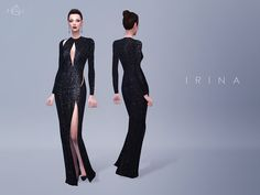 This gown is covered with scores of sequins, and is finished with alluring slashes at the bodice, waist and back. Emphasize the thigh-grazing side split with heels.  Found in TSR Category 'Sims 4...