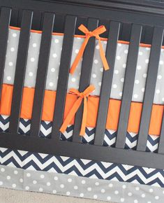 Orange Navy Blue Lime Green and Grey Crib Bedding by GiggleSixBaby