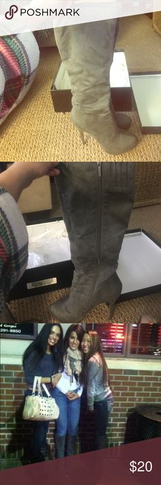 JustFab Gray Zip up heeled boots Just fab Gray zip up heeled boots. Very sturdy and comfortable JustFab Shoes Heeled Boots