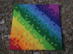 Rainbow Melt Perler Bead Trivet or Hot Pad by TheMeltedGeek for $7.00