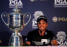Jason Day speaks with the media alongside the Wanamaker Trophy after winning the 2015 PGA Championship with a score of par at Whistling Straits on August 2015 in Sheboygan, Wisconsin. (Photo by Richard Heathcote/Getty Images) Jason Day, Rock Bottom, Golf Outfit, Golf Clubs, Sheboygan Wisconsin, Athletes, Sports, Hs Sports, Sport