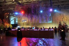 A canopy of trees hung above the bar for the cocktail reception, which had an enchanted forest theme.