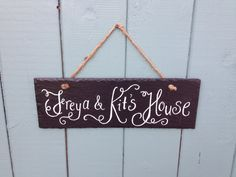 Personalised slate door name plate, playhouse or wigwam signs -  hand painted by CoveCalligraphy, £17.50