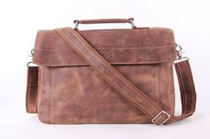 Vintage 14'' Leather Briefcase/ Messenger Bag/ Laptop Bag / Macbook Bag/ Shoulder Bag/ Handbag in Vintage Brown 1041