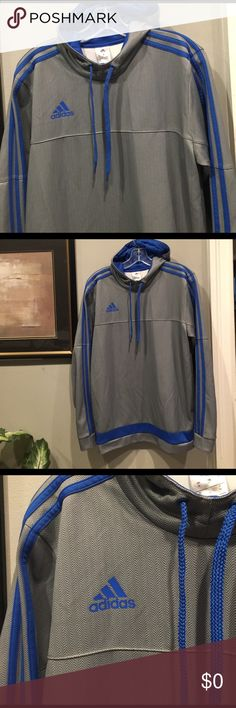 Vintage Collectible Adidas Pullover Hoodie Always my favorite.  Royal blue trim, Grey on grey herringbone pattern.  These 2 colors together is what make this jacket do amazing. Would look great on Anyone!. Adidas Shirts Sweatshirts & Hoodies