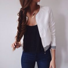 Dark Blue Skinny Jeans, A Black Crop Top And White And Black Coat