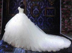 ericdress.com offers high quality   Ball Gown Sweetheart Appliques Cathedral Wedding Dress Wedding Dresses unit price of $ 260.39.