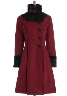 Archetype It Up Coat. Get into character by donning the classic style of this fairy tale-inspired coat, which will be available for purchase in November. #red #modcloth