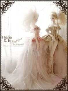 Thalia & Erato BJD dolls by Muse Doll. Love the intricate detail of their clothing.