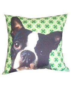 Boston terrier - Cojín cuadrado fondo verde. $80.000 COP. Compra aquí --> https://www.dekosas.com/productos/hogar-decoracion-cojines-fulanita-boston-fondo-verde-detalle
