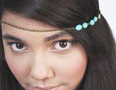 Chain Headpiece Headband Hair Piece Bohemian Hipster Boho Hippie Bronze Turquoise Bridal Statement Jewelry Single Strand on Etsy, $10.00