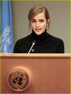 Emma Watson Celebrates HeForShe's Two Year Anniversary: Photo Emma Watson takes the stage during the HeForShe launch event at The United Nations on Tuesday (September in New York City. The actress was helping… Emma Love, My Emma, Emma Thompson, Emma Watson Style, Emma Watson Fashion, Emma Watson Hair, Most Beautiful Women, Beautiful People, Fangirl
