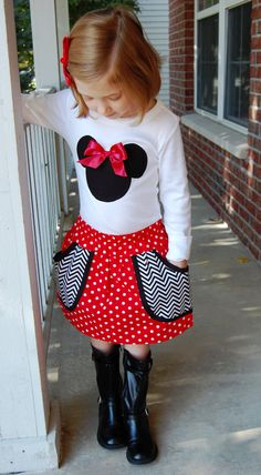 Disney Mickey Outfit Long or Short sleeve  ZigZag Modern Girls Pocket Skirt Fall Winter 0-6 months thru 5  6 10 available Holiday Christmas. $39.99, via Etsy.