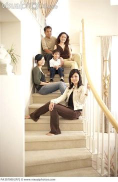 family photography poses | Family posing on stairs