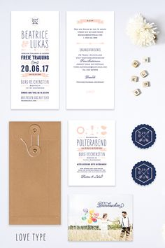 """""""Love Type"""" wedding invitation by Bonjour Paper"""