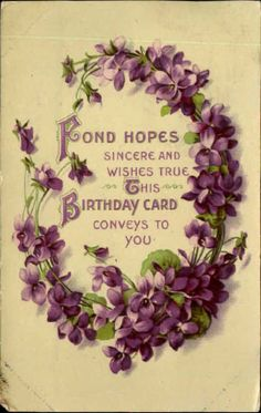 Birthday poem violets flowers gel coating mailed Wellsville MO 1912 postcard