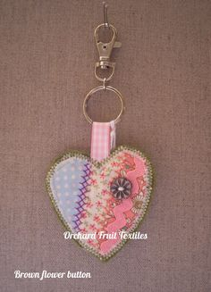 Heart Key ring or Bag charm by OrchardFruitTextiles on Etsy