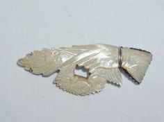 Antique Victorian Carved Mother Of Pearl Hand Brooch Pin