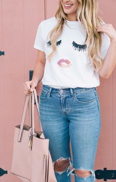 Shopbop Sale Finds, Feminine Style, Pink Finds, Pink Style, Shop Sincerely Jules, Tan Mules, Nude Mules, Shopbop Style, Long hair, Shop Sincerely Jules Lips T-shirt, Orange County Blogger Spots