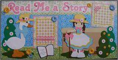 "Scrapbook layout I made using Little Scraps of Heaven Designs ""Read Me a Story"" pattern."