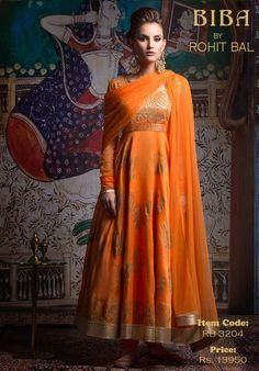 Orange/Tangerine chanderi anarkali with gold lurex applique embroidery and gold block print.