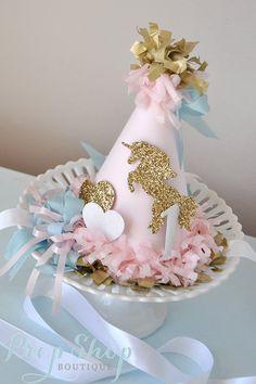 Unicorn Kisses Birthday Hat by propshopboutique on Etsy Unicorn Birthday Parties, First Birthday Parties, Girl Birthday, First Birthdays, Unicorn Party Hats, Birthday Ideas, Unicorn Wedding, Carousel Party, Horse Party