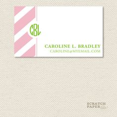 Monogram Calling Card by scratchpaperstudio on Etsy, $25.00