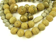 "28"" exceptional old granulated Yoruba gold wash metal beads African trade"