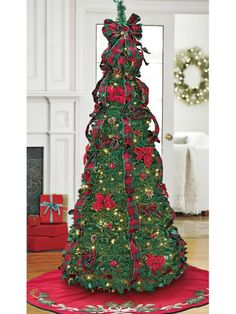 instant pull up tree arrives fully decorated traditional red plaid trim makes our easy up tree fe - Pull Up Fully Decorated Christmas Tree