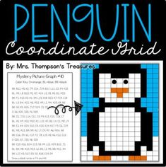 Fun printable or digital math practice creating a penguin mystery picture using the coordinate grid. Students will love discovering the mystery picture while coloring in the correct squares on the alphanumeric grid using the colors and coordinates given. Great winter math activity for 3rd - 5th grades.