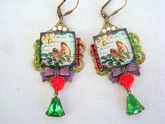 romantic  vintage earrings Christmas robins par lesbijouxderose