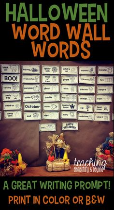 These Halloween word wall words are great to post in my classroom for a variety of activities. They can help kids reflect upon what they have learned about, what they love Halloween or even as a response to what they did on Halloween night when they come back to school. It is a great visual prompt for a variety of writing activities/ideas as there are pictures included to support a wide variety of learners.