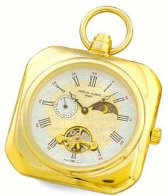 Pocket Watch - 14k Gold-plated Open Face Sun/Moon Dial, Squared Pocket Watch Goldfinger. $94.95