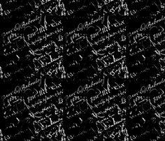 White French Script on Black background fabric by karenharveycox on Spoonflower - custom fabric