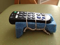 Simple foam remote holder for hands with sensory loss and poor coordination.  Outreach Therapy Consultants
