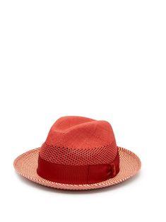 BORSALINO BORSALINO - QUITO PANAMA CHEVRON STRIPED STRAW HAT - MENS - RED  MULTI.   72216f49e68d