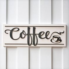 Coffee Sign Coffee Bar Coffee Sign Wood Wood Coffee Sign Kitchen Sign... ($28) ❤ liked on Polyvore featuring home, home decor, wall art, home & living, home décor, silver, wall décor, wall hangings, wooden wall hanging and wall hanging
