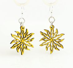 Made In U.S.A Style # 143A is photgraphed above in our Lemon Yellow color made from sustainably sourced materials Ear wires are silver-finished 3041 stainless steel with new electrophoretic-coating that resists tarnishing All blossoms earring sizes are less than a square inch in size