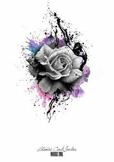 graue rose und bunte farben rosen tattoo vorlage idee für einen tattoo für die frauen