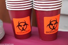Rx To Party: Graduation party ideas for a college medical graduation. Great for pharmacy, doctors, nurses. Biohazard stickers on paper cups. Check out that cool T-Shirt here: https://www.sunfrog.com/Funny-nurse-T-Shirt-Black-Ladies.html?53507