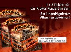 """Gewinne mit Weltbild 2 Tickets für das Krokus Konzert!  Zusätzlich gibt es im Wettbewerb eins von 3 handsignierten Exemplaren des neuen Albums """"Big Rock"""" zu gewinnen.  Nimm hier am Wettbewerb teil: http://www.gratis-schweiz.ch/gewinne-tickets-fuer-das-krokus-konzert/  Alle Wettbewerbe: http://www.gratis-schweiz.ch/"""