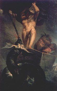 Thor luchando contra la serpiente Jörmundgander durante el Ragnarök. Cuadro de Johann Heinrich Füssli (1788).